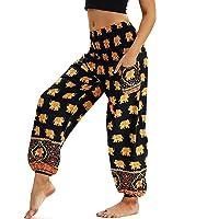 Nuofengkudu Mujer Pantalones Hippies Tailandeses Estampado Verano Cintura