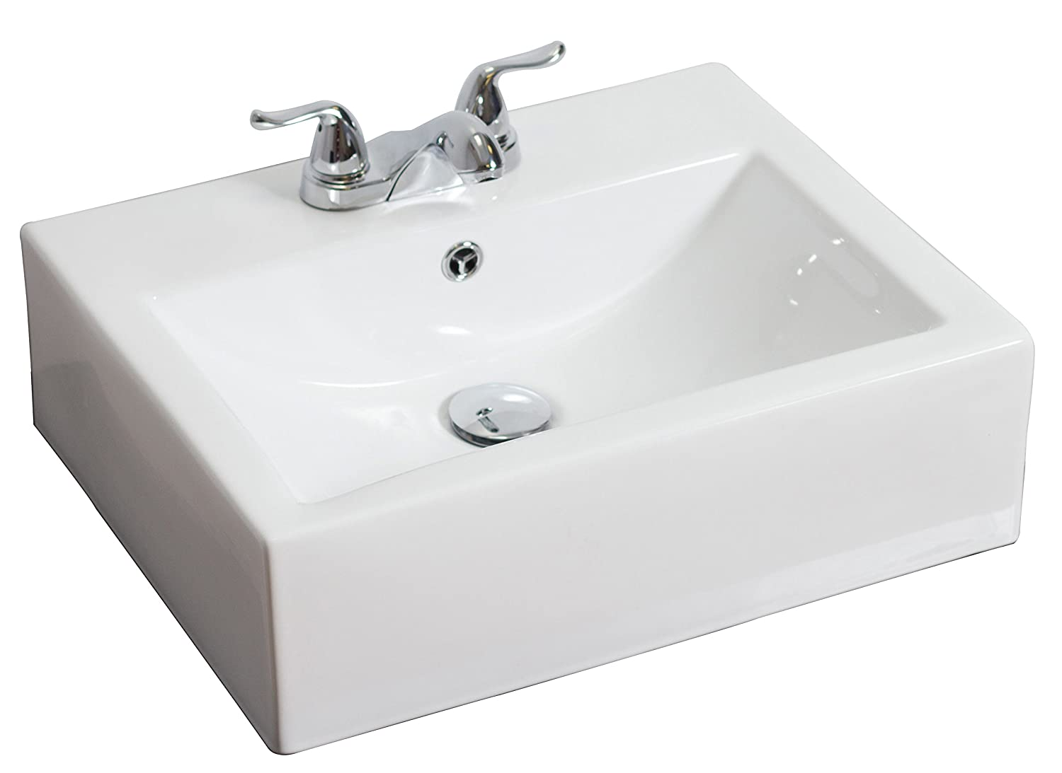American Imaginations AI-12-593 Above Counter Rectangle Vessel for 4-Inch OC Faucet, 20.5-Inch x 16-Inch, White IMG Imports Inc.