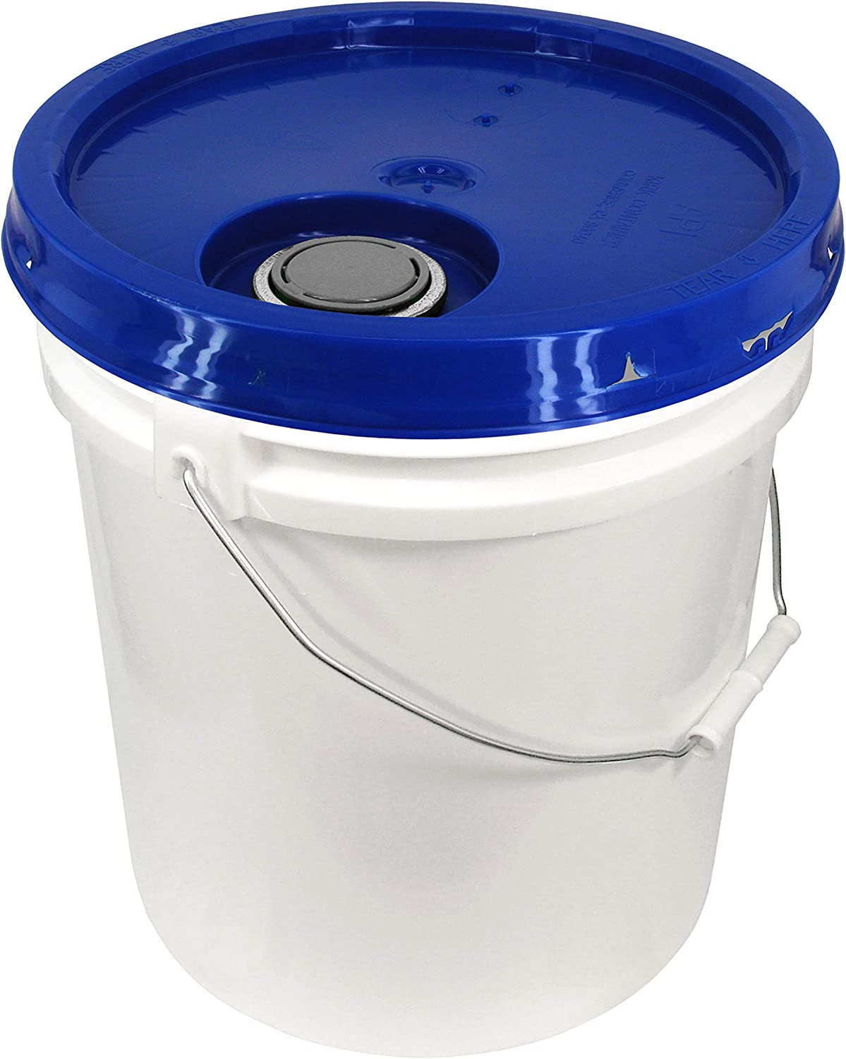 Black White 5 Gallon 90 mil Bucket with Snap On Lid