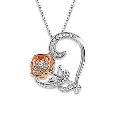 Amazon.com  SNZM Love Heart Pendant Necklace Rose Flower in Silver ... 03b883eb7