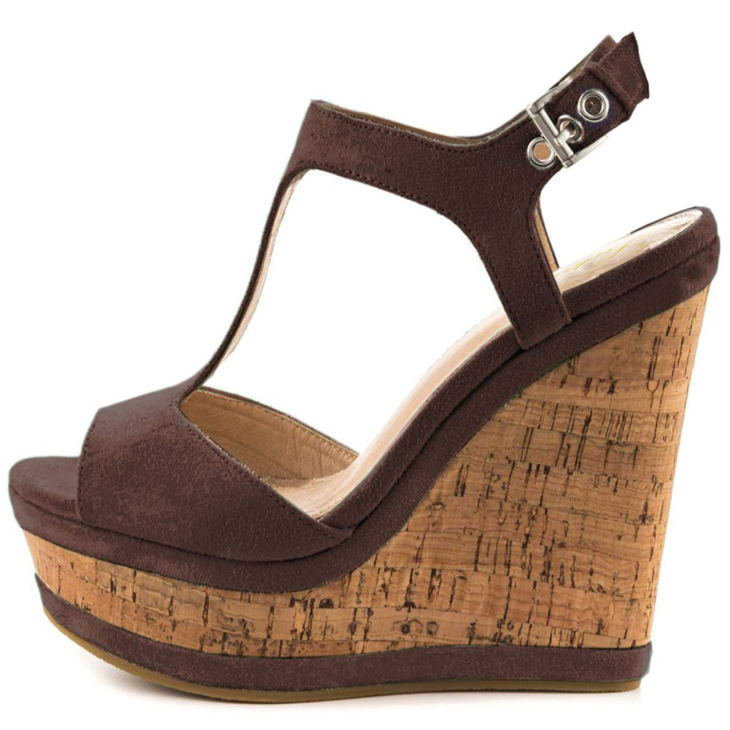 Brown Lutalica Women Sexy Suede Peep Toe Wedge Ankle Straps High Heel Summer Sandals Size 5.5-12 US