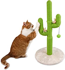 Fluffy Soul Cactus Cat Scratcher - Cat Cactus Scratching Post with Ball - Save Your Furniture with Durable Handmade Cute Cat Tree - Loads of Entertainment for Your Cat