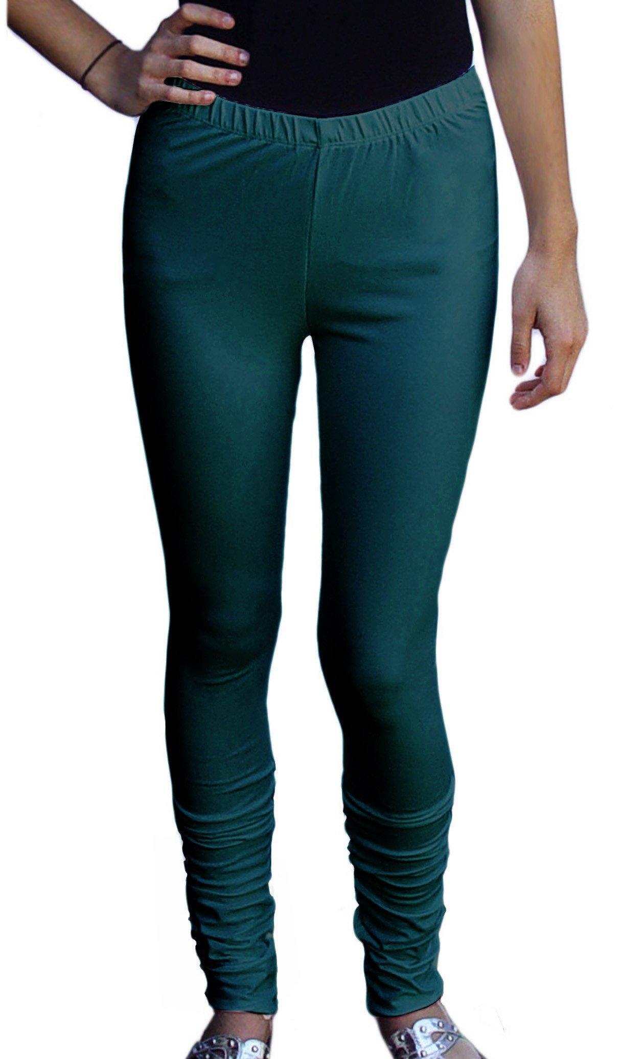 Ayurvastram Women's Cotton Spandex Jersey Extra Long Leggings, Churidar; Teal;Medium