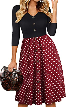 YATHON Women's Vintage Patchwork Buttons Pleated Flared Swing Party Casual Dress