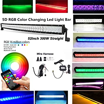 """Wiring 5D 52/"""" INCH 300W RGB LED Curved Work Light Bar Offroad Music Bluetooth"""