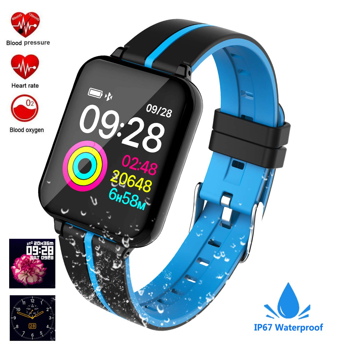 Fitness Tracker, Activity Tracker Fitness Watch with Heart Rate Monitor Color Screen,Waterproof Smart Bracelet with Step Counter,Calorie Counter,Pedometer for Kids Women Men Android iOS (Black/Blue)