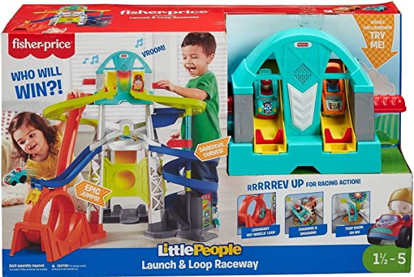 Fisher-Price Little People Launch & Loop Raceway racetrack playset for kids in package