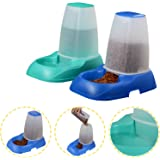 Voilamart Automatic Pet Feeders for Dog Cat Self Feeding Dish Bowl Water Dispenser, Green & Blue 2 x 3.5L