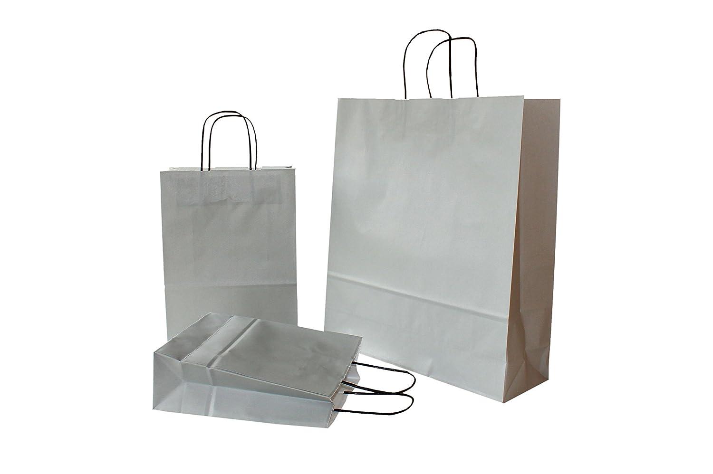 400 Stück 18 + 8 x 24 cm PGV Papiertragetaschen mit Kordelhenkel GRAU   grau 100 g m² (18 + 8 x 24 cm, 400 Stück)