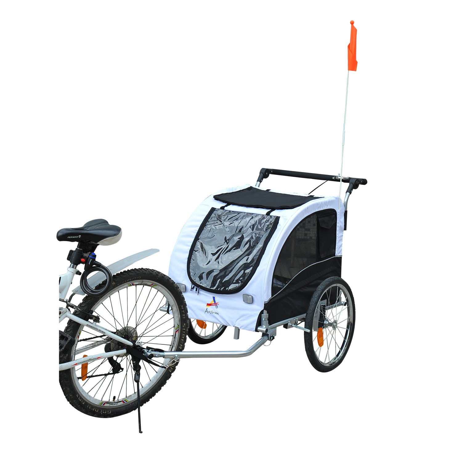 Aosom Elite II Pet Dog Bike Bicycle Trailer Stroller Jogger w/ Suspension - White by Aosom
