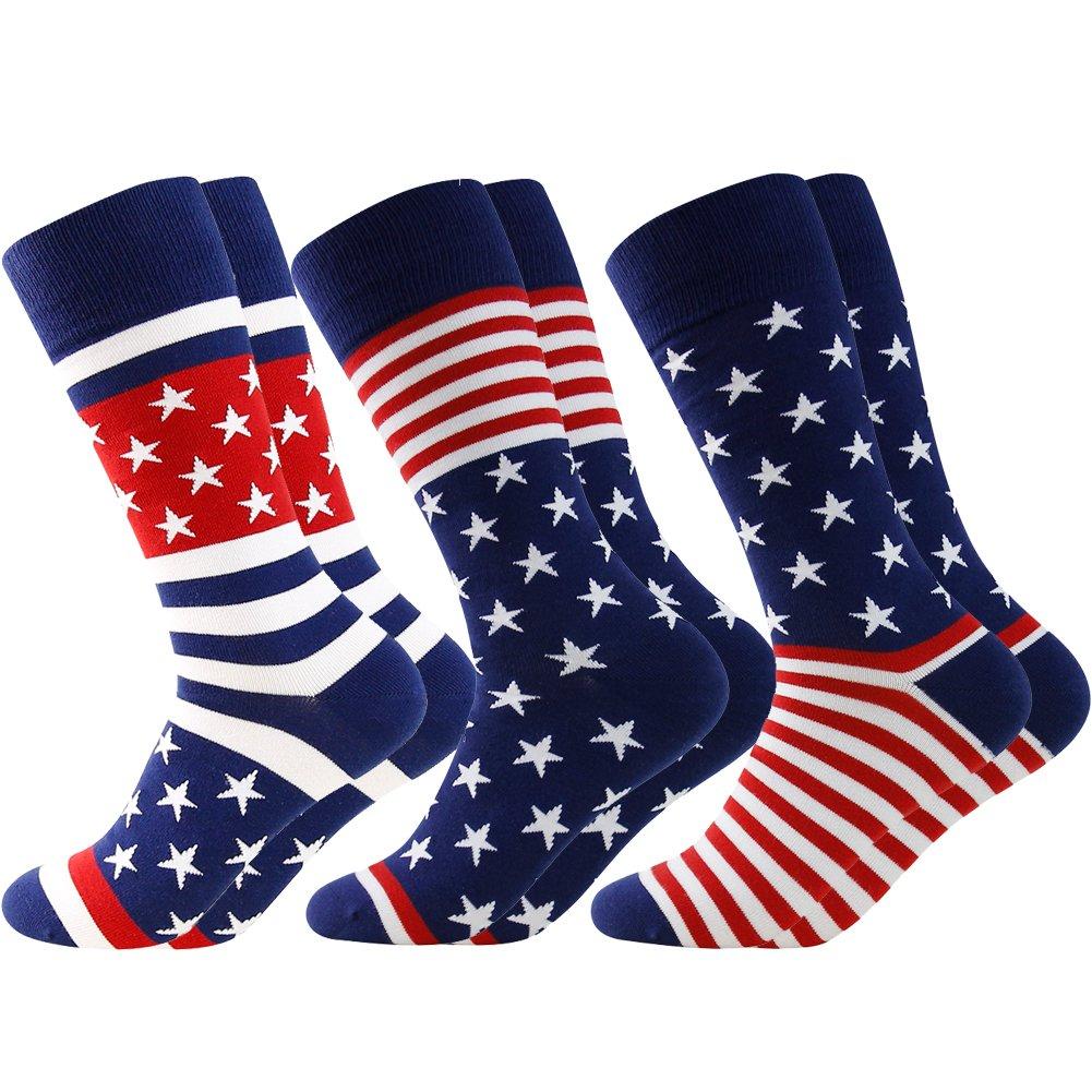 Business Gift Socks, LANDUNCIAGA Men's Mid Calf July Fourth Patriotic American Flag Stars Novelty Cotton Crew Bridegroom Socks,3 Pairs by LANDUNCIAGA (Image #1)