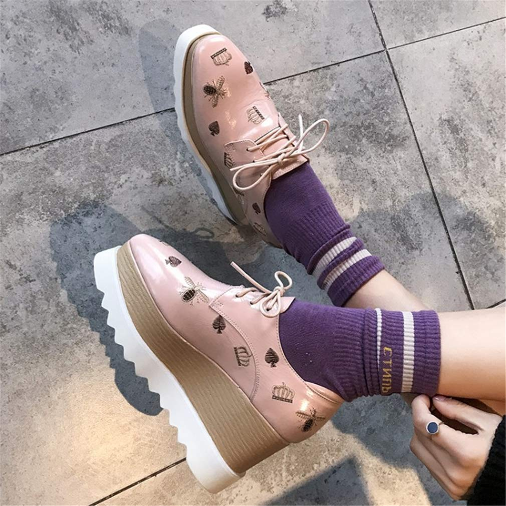 YAN Donne Donne Donne Mocassino Flats Platform Scarpe Slip on Vernice in Pelle Ricamo Mocassini Ladies Basso Top Zeppa scarpe da ginnastica 8cm Nero rosa,rosa,39 6cd9c8