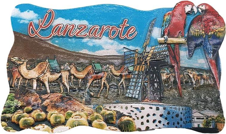 3D Lanzarote España Refrigerador Imán de Nevera Recuerdos Turísticos Hecho A Mano de Resina Artesanía Pegatinas Magnéticas Inicio Cocina Decoración Regalo de Viaje: Amazon.es: Hogar