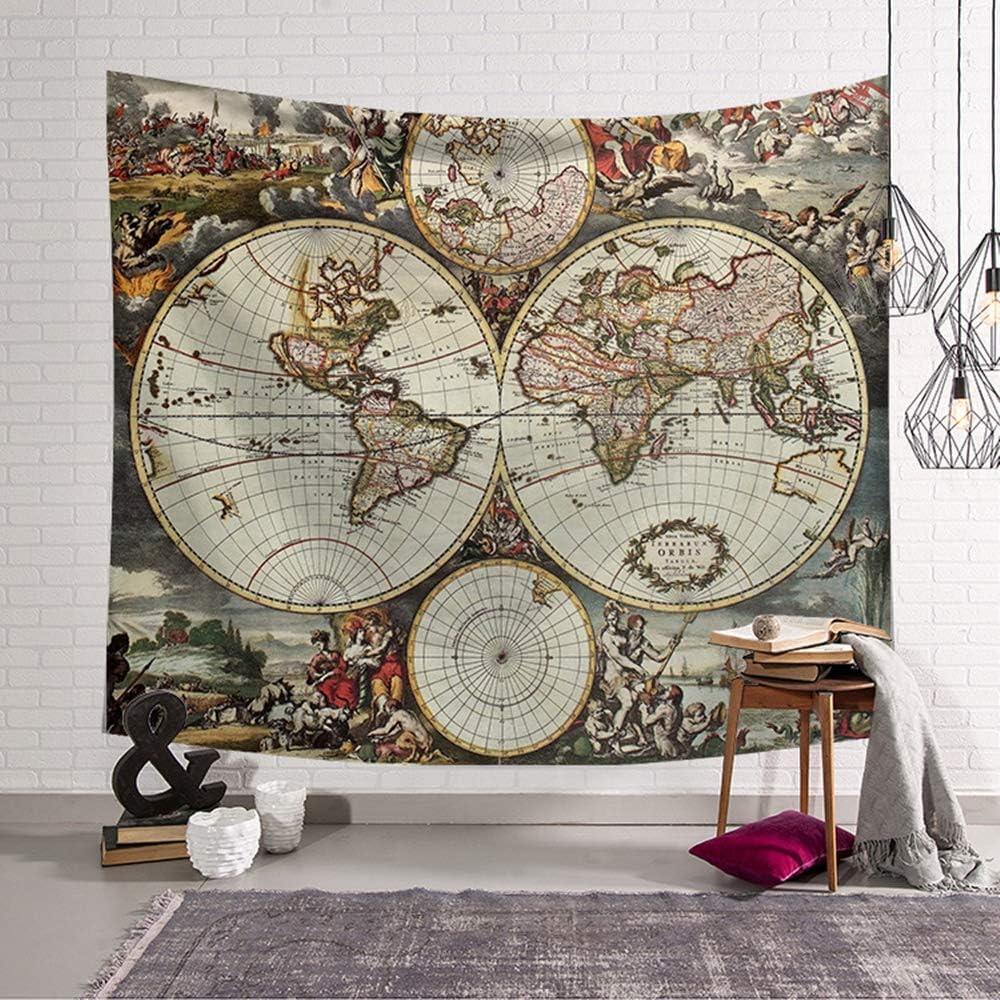 Morbuy Tapiz Pared de Creativo Mapa del Mundo Decoración Tapices ...