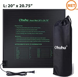 "Ohuhu Seedling Heat Mat, 20"" x 20.75"" Large IP67 Waterproof Plant Heating Mat, MET Standard 18W Hydroponic Heat Pad for Indoor Seedling and Germination, Bonus A Storage Bag"
