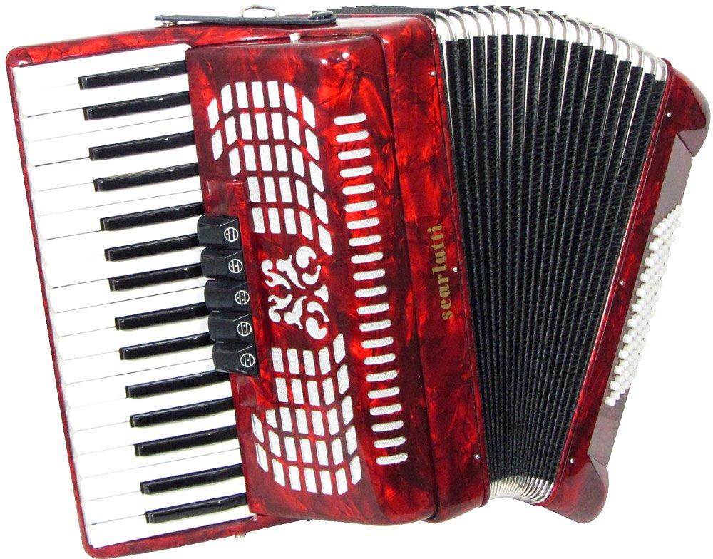 Scarlatti 72 Bass Accordion - Red