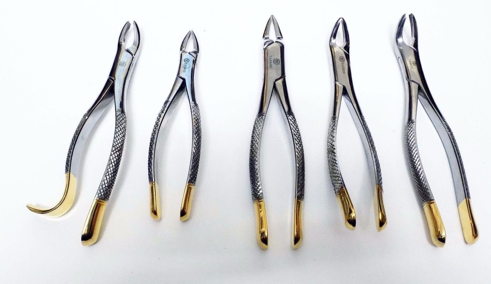 Tooth Extracting Forceps Gold Platted Handle Set of 5pc Dental Instrument Tasrou