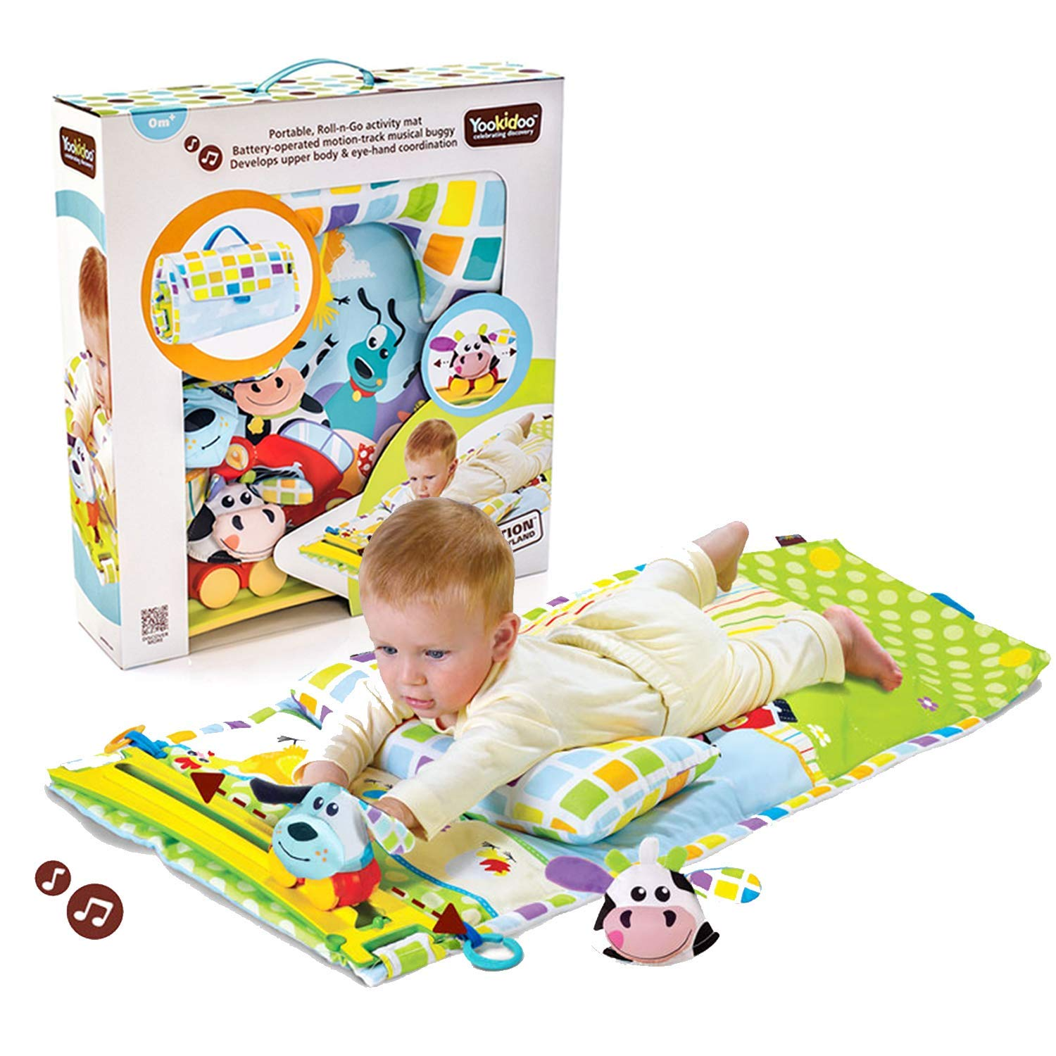 Tummy Time Mat by Yookidoo - Baby Gym & Activity Musical Playmat. Infant Pillow, 2 Newborn Plush Toys (Dog & Cow) and Motorized Magic Motion Track. Comes with Portable Fold-Up Case. From 0+ months