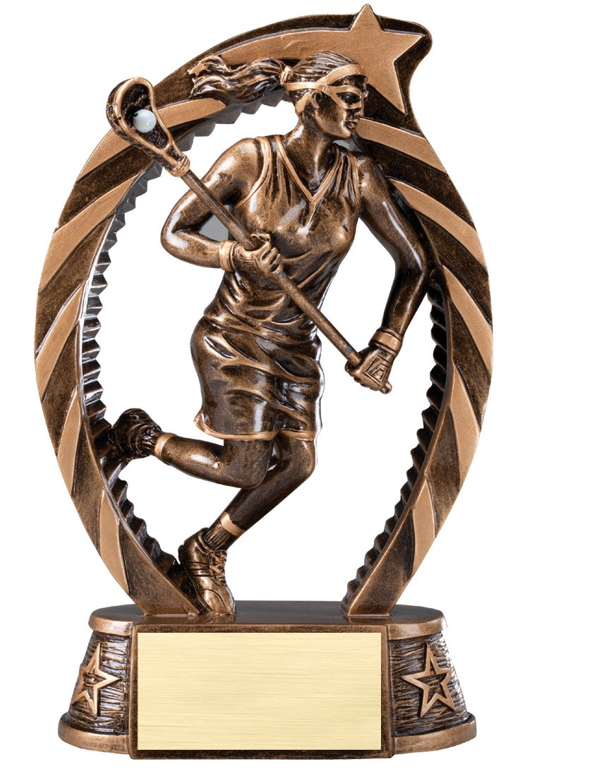 The Trophy Studio Bronze And Gold Lacrosse Female Award 7 1/2''tall
