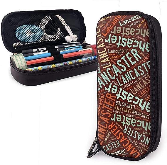 Lancaster - Estuche de lápices de cuero de gran capacidad American Apellido, estuche para lápices, estuche grande, bolsa de almacenamiento, bolsa de cosméticos portátil: Amazon.es: Oficina y papelería