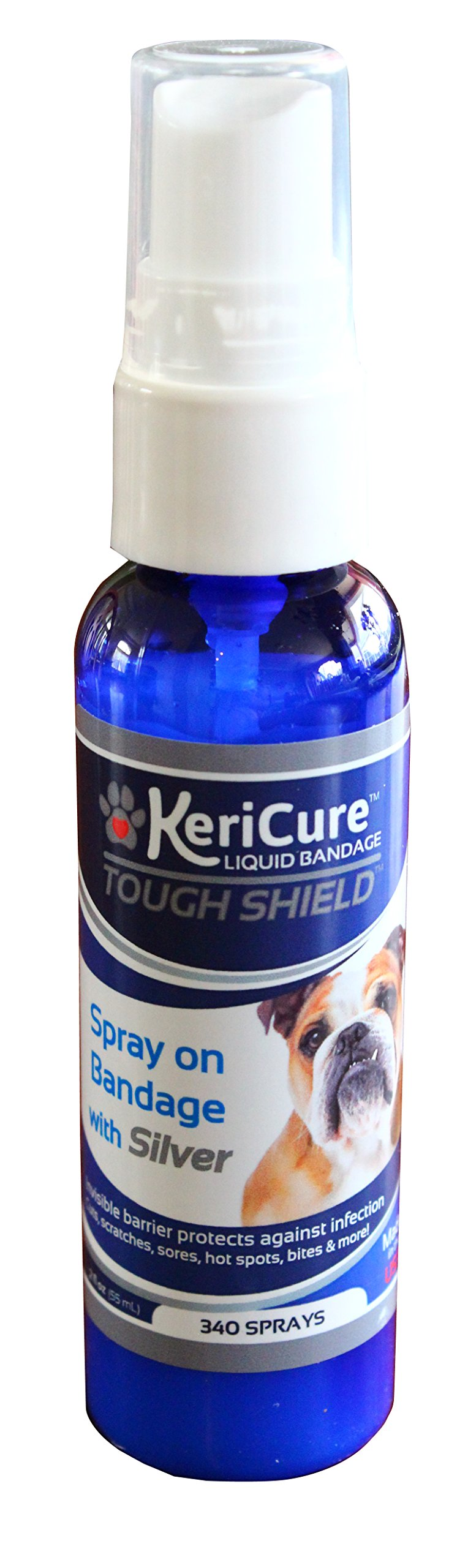 KeriCure Tough Shield Liquid Bandage, 2oz Spray on Liquid Bandage for Pets, Dogs, Cats and Small Animal Skin and Wound Care by KeriCure