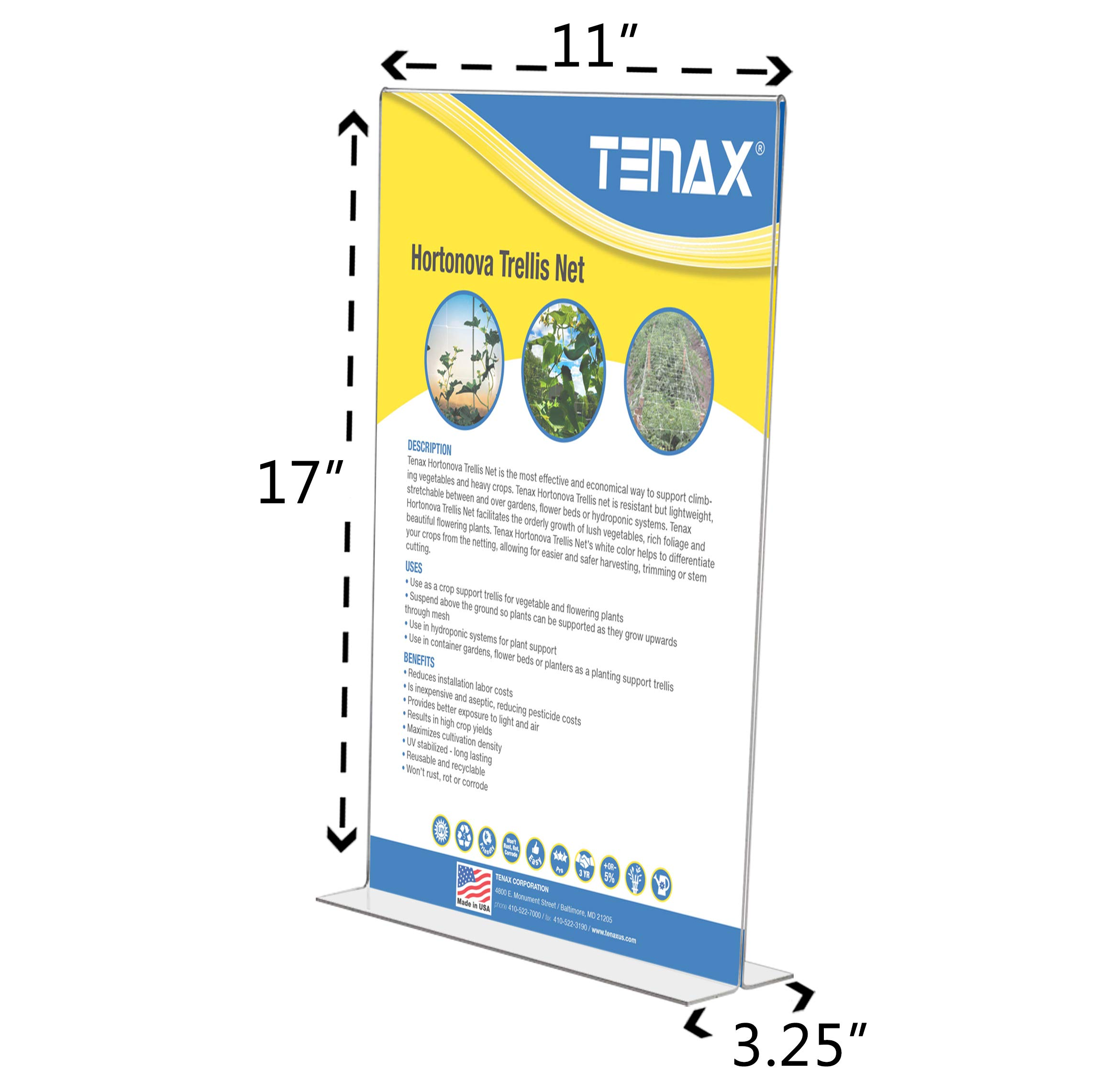 Marketing Holders Literature Flyer Poster Frame Letter Notice Menu Pricing Deli Table Tent Countertop Expo Event Sign Holder Display Stand Double Sided Bottom Loading 11''w x 17''h Pack of 4 by Marketing Holders (Image #3)