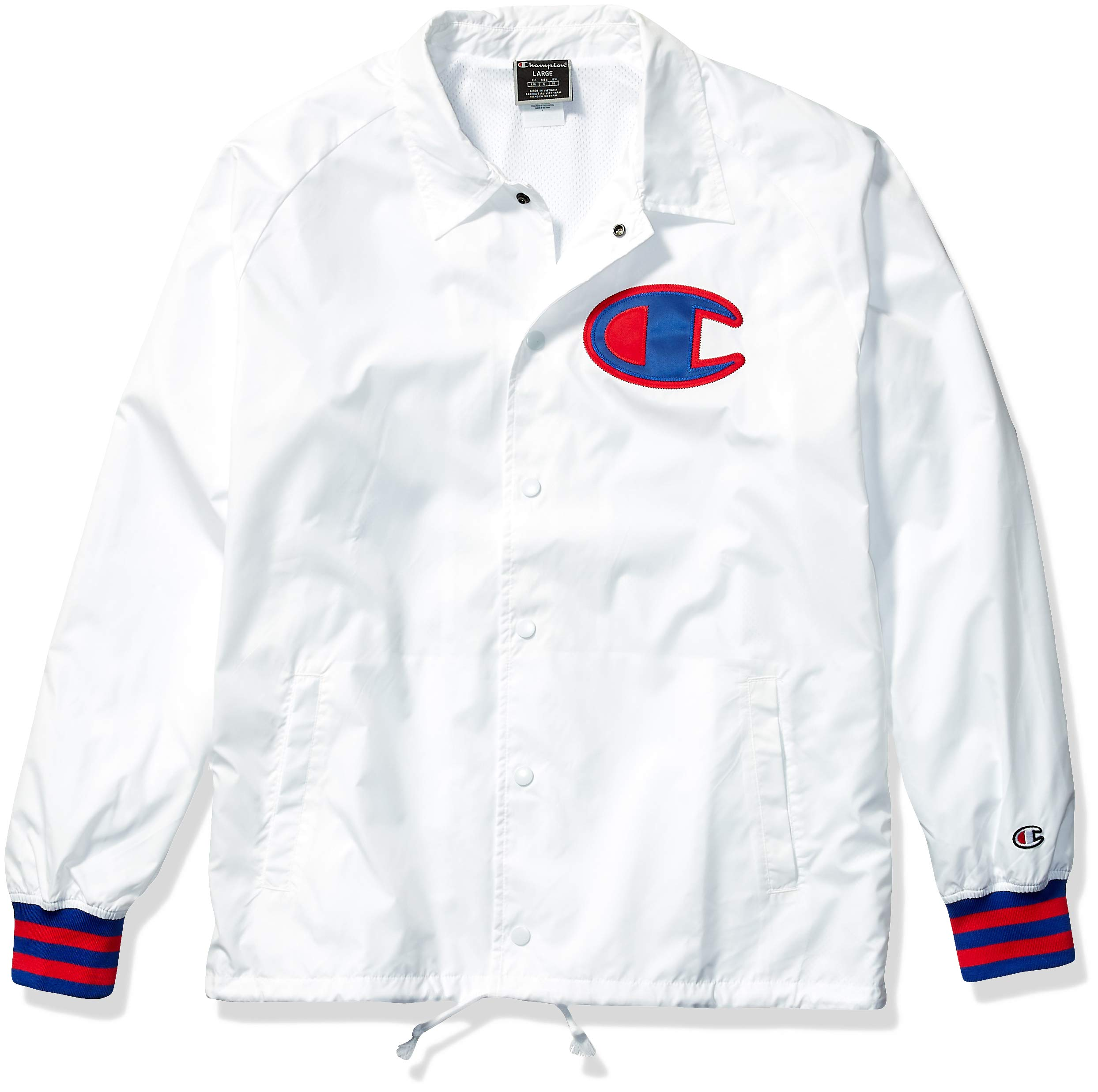 Champion LIFE Men's Satin Coaches Jacket with Ribbed Cuffs, White w/Twill c Logo, X Large by Champion LIFE
