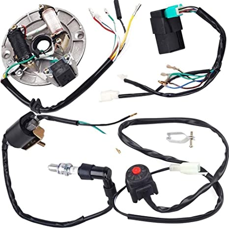 amazon com: annpee kick start dirt pit bike wire harness wiring loom cdi  coil magneto 50-125cc: automotive