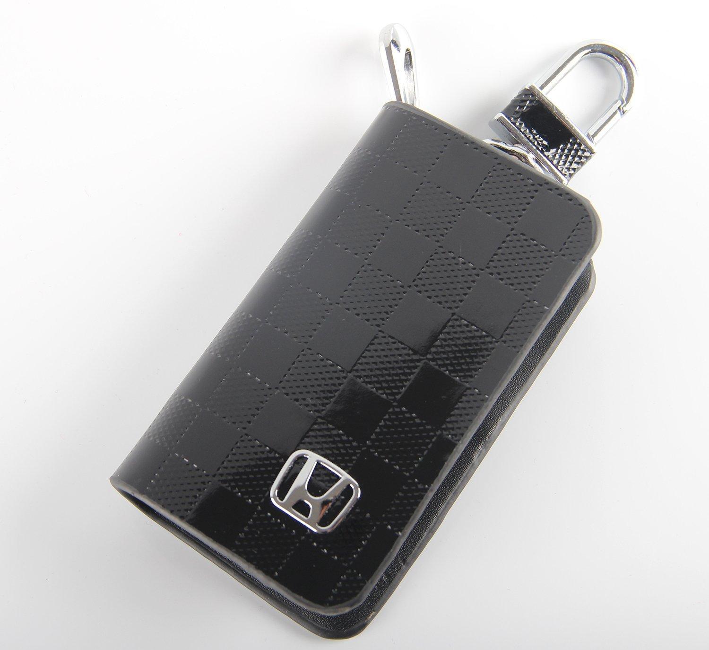 キーチェーンバッグブラックチェッカーパターン本革リングホルダーケース車オートコインリモートスマートキーカバーFobアラームセキュリティジッパーキーチェーン財布バッグ(ホンダ) B07BQYL7RD
