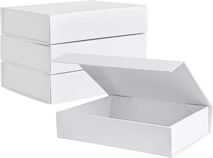 Amazon.com: Caja de regalo dura blanca con tapa de cierre magnético, 7.0 x 5.0 x 1.8 in, rectángulo pequeño cajas para regalos con acabado blanco brillante (5 unidades): Health & Personal Care