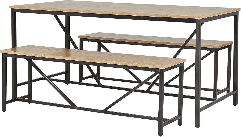 NEW Tesco Kanabu Metal Frame Table & 2 Bench 3 Piece Set - Oak Effect