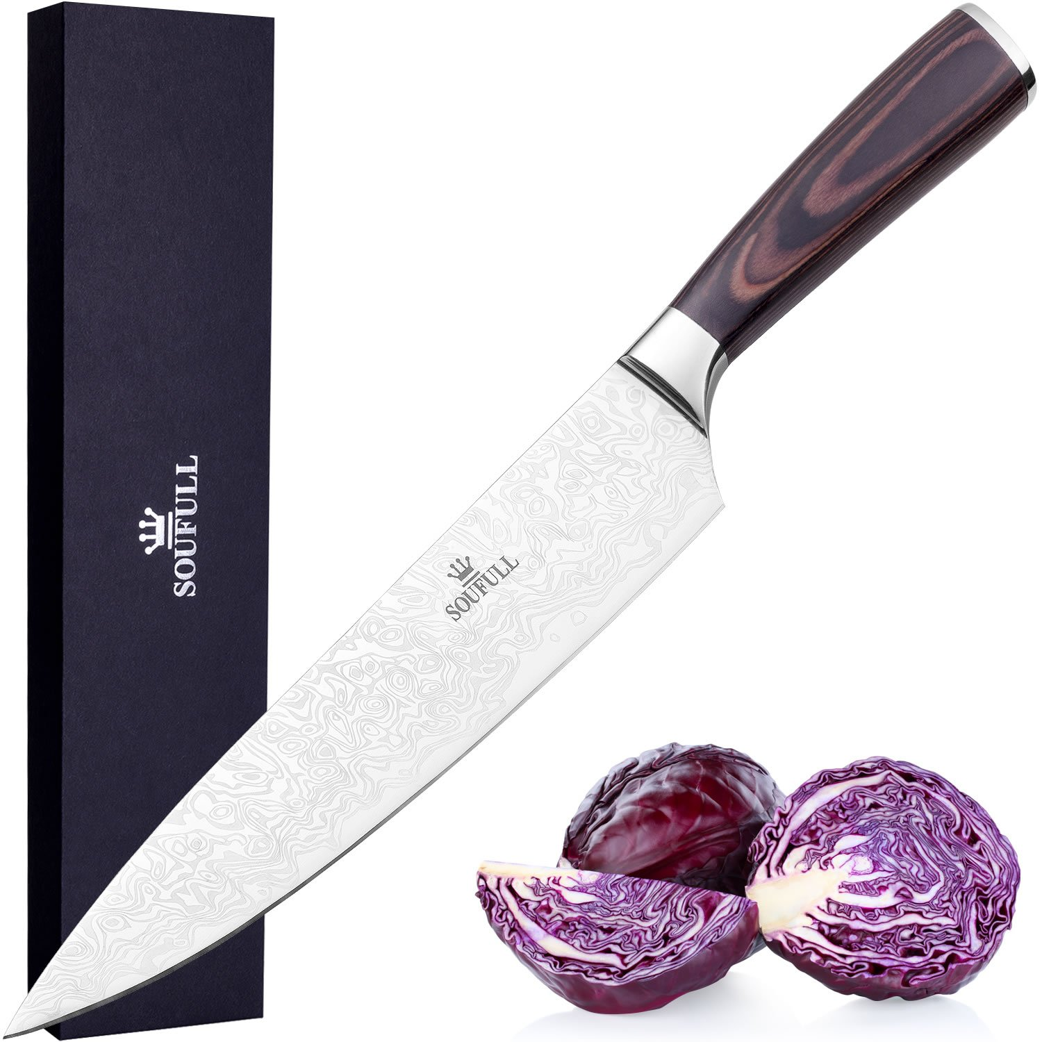 Japanese Chef Knife, Soufull 8 inch Sturdy Stainless Steel Kitchen Knife with Razor Sharp Blade and Balanced Ergonomic Pakka Wood Handle with Gift Box