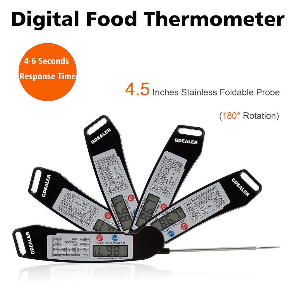 GDEALER Instant Read Thermometer Super Fast Digital Electronic Food Thermometer Cooking Thermometer Barbecue Meat Thermometer with Collapsible Internal Probe for Grill Cooking Meat Kitchen Candy by GDEALER (Image #2)
