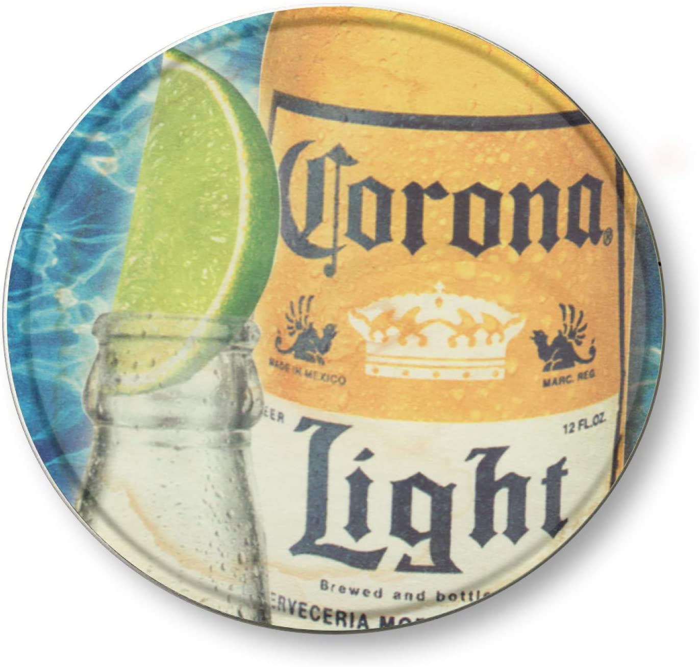 Ovonetune Corona Beer Bar Vintage Style Concave Round Tin Sign, Retro Metal Round Tin Signs Decor Wall Art Posters Gifts for Door Plaque Home Bars Clubs Cafes, 12X12 Inches