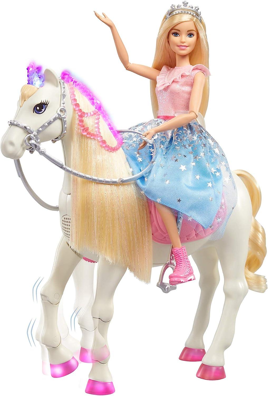 Barbie - Princess Adventures Prance y Shimmer Caballo y muñeca Rubia, Regalo niños +3 años (Mattel GML79), Embalaje estándar