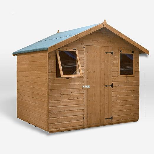 6 x 8 – Caseta de jardín cobertizo de madera para puerta de Windows, único delantero & fieltro. – Por Waltons: Amazon.es: Jardín