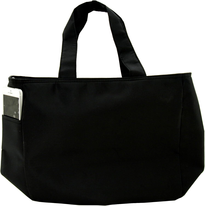 Inside Zipper Microfiber Fabric Tote Bag Black with Olive Ribbon Trim Zipper Top closure Front Pocket Machine Washable