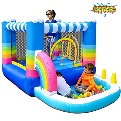 MEIOUKA Kids Inflatable Bounce Houses Jumper with 350W Blower Small Ball Pit Water Pool Rainbow Blow up Small Inflatable Bounce House for Kids Toddlers Indoor Outdoor Jumping Bouncer Party Yard Toys: Toys & Games