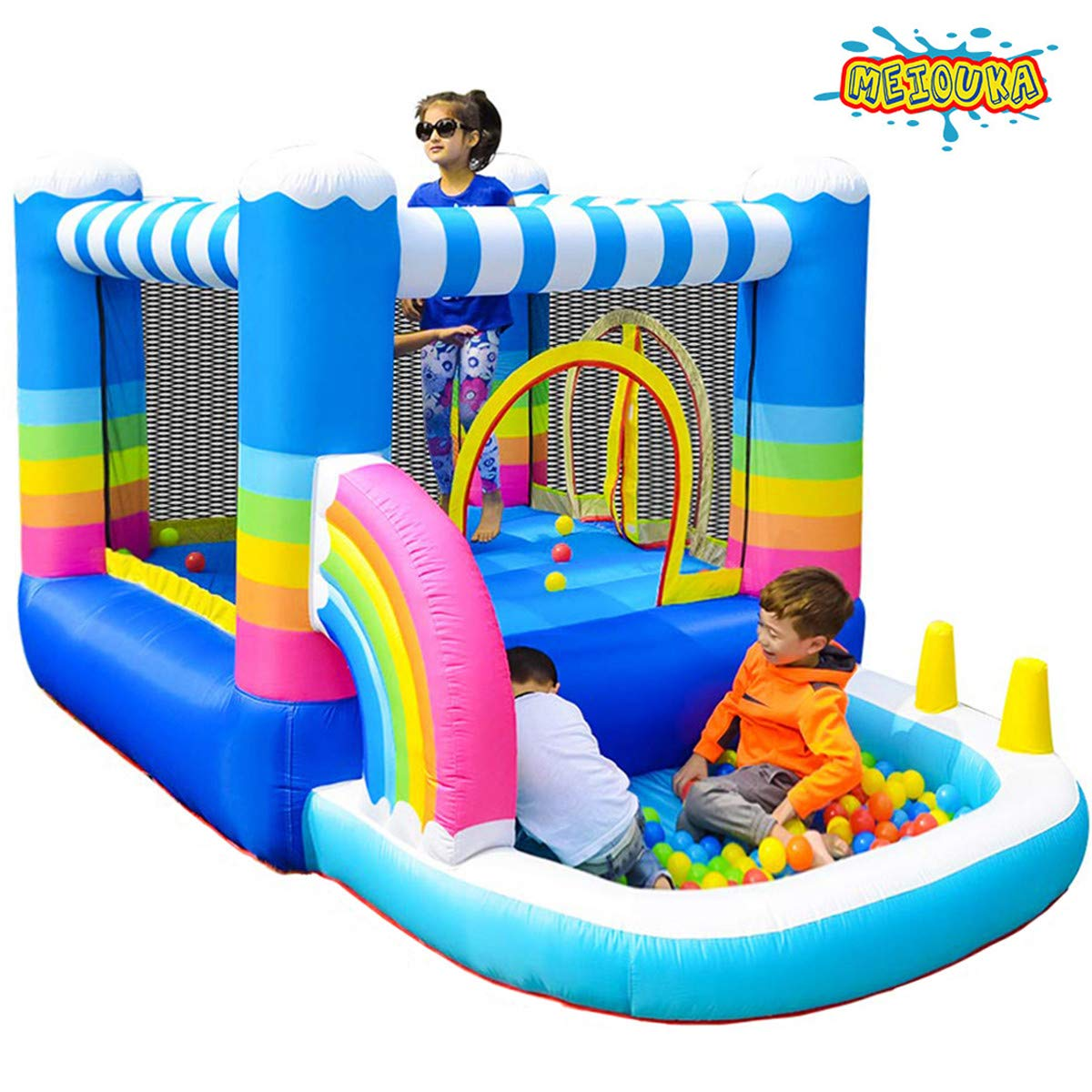 MEIOUKA Kids Inflatable Bounce Houses Jumper with 350W Blower Small Ball Pit Water Pool Rainbow Blow up Small Inflatable Bounce House for Kids Toddlers Indoor Outdoor Jumping Bouncer Party Yard Toys by MEIOUKA