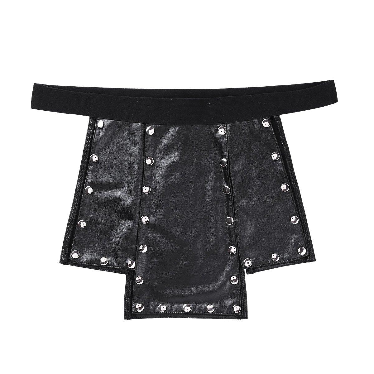 Alvivi Mens Faux Leather Low Rise Metal Studded Kilt Underwear Skirt Sexy Lingerie Clubwear Black Large