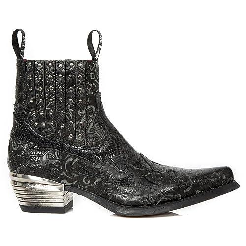 New Rock M.WST047-S1 Botas Botines Hombre Caballero Negro Cuero Piel Tacón Punk Oeste Vaquero Western Cowboy: Amazon.es: Zapatos y complementos