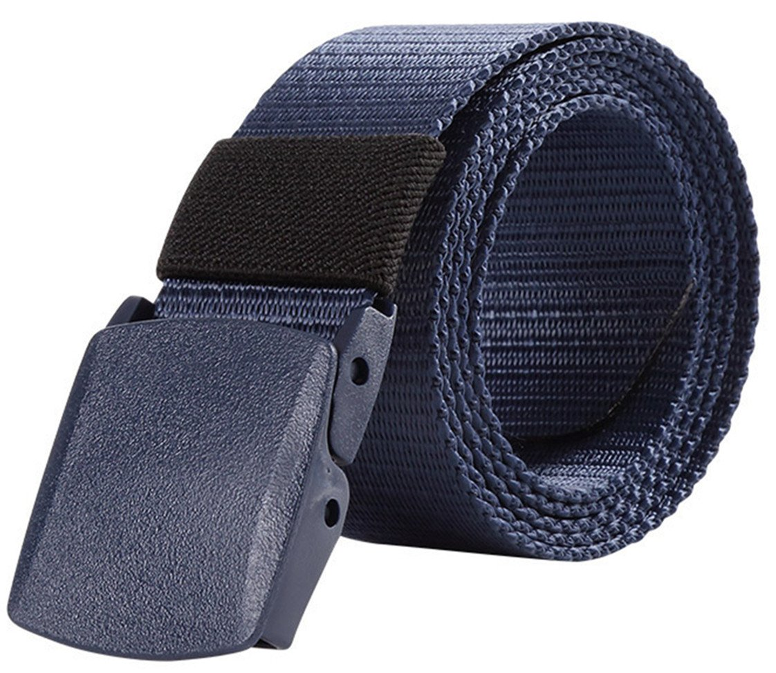 48'' Breathable Belt For Men Military Plastic Buckle Nylon Canvas Adjustable Strong Waist Web Non-metal Casual Belt