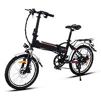 AMDirect Bicicleta de Montaña Eléctrica de 26 Pulgadas E-Bike Sistema de Transmisión de 21 Velocidades con Linterna con Batería de Litio Desmontable 250W 36V