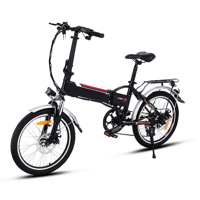 AMDirect Bicicleta Eléctrica Plegable con Batería de Litio(36V 8Ah) Desmontable Bicicleta de Montaña de 20 Pulgadas E-Bike Motor 250W Sistema de Transmisión ...