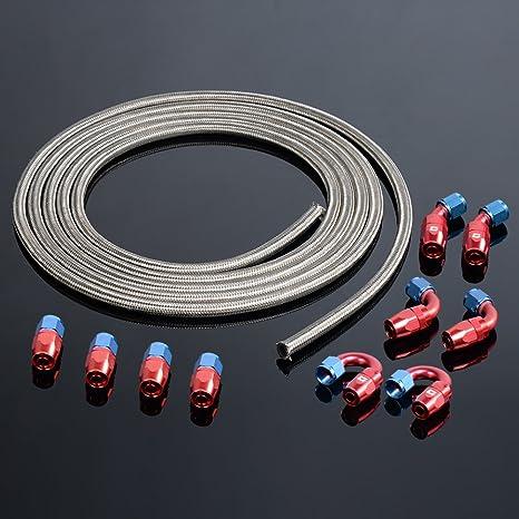 3,65 m // 12 ft Kraftstoffleitungsschlauch geflochtenes Heiz/ölrohr aus AN6-Edelstahl mit 6-teiligem schwenkbarem Schlauchendadapter