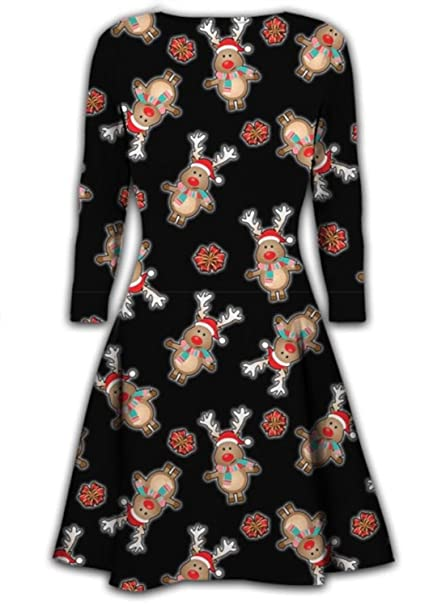 eb4c4aa591c6 Mymixtrendz® Ladies Long Sleeve Winter Christmas Novelty Printed Party Swing  Dress (XL (UK