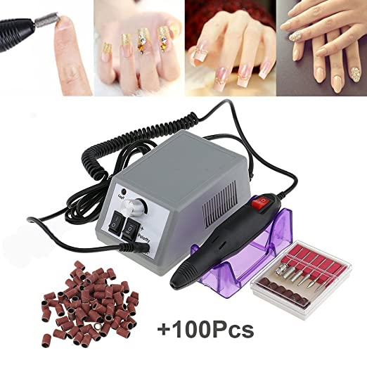 ea4c09c0a9a This professional manicure pedicure kit comes with a durable electric nail  art drill machine. The package also comes with 6 optional standard metal  bits as ...
