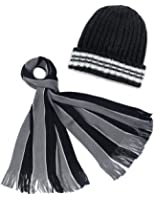 Dahlia Men's Scarf and Beanie Hat Set - Awning Stripe