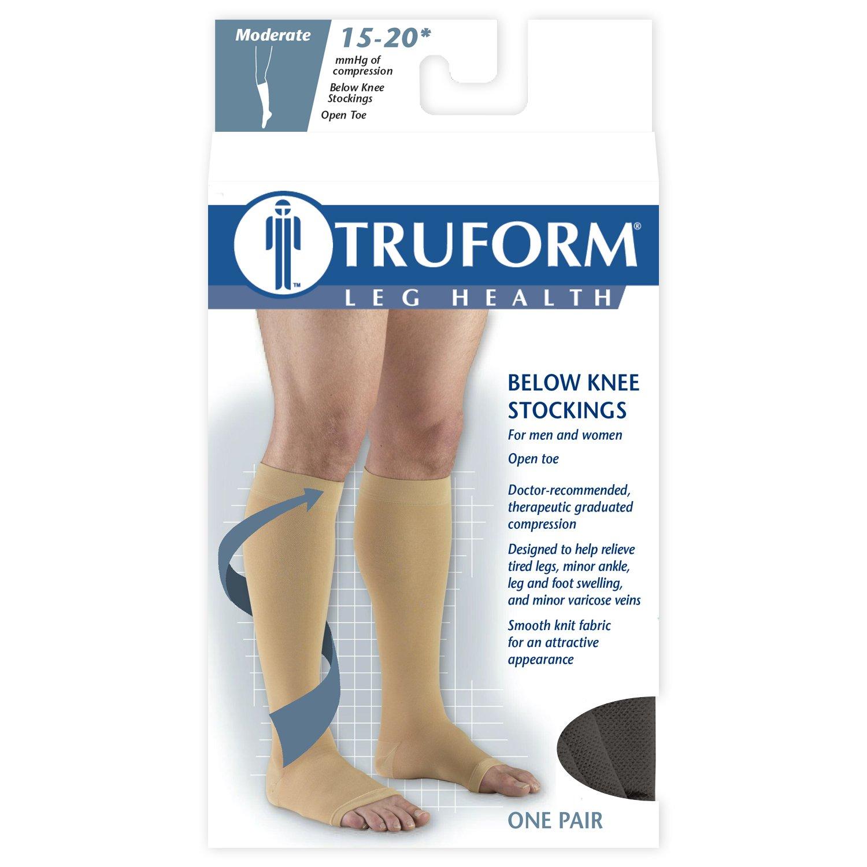 8d86f05ed1 Amazon.com: Truform Compression Stockings, 15-20 mmHg, Knee High, Open Toe,  Black, X-Large: Health & Personal Care