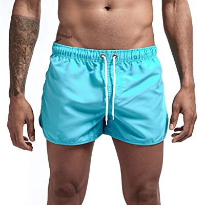 Mens Athletic Workout Running Shorts with Drawstring Solid Lightweight Quick Dry Beach Swim Joggers Sweat Shorts: Clothing